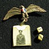 Teeth dice and Bakelite sweet heart pin with photo of my father in law.
