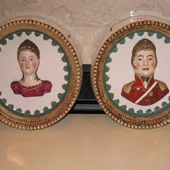 18th Century Staffordshire porcelain plaques of George IV and Queen Caroline.