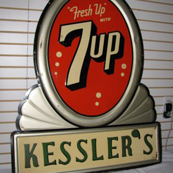 1951 Die Cut and embossed 7up Sign - Signs