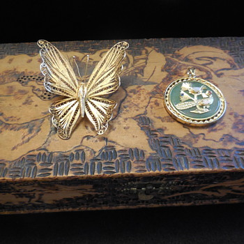Filigree Gold Vermeil Butterfly Brooch and Chinese? Pendent, Flea Market Find - Costume Jewelry