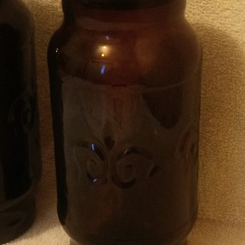 SET OF 2 OWENS ILLINOIS BROWN GLASS APOTHECARY JARS - Bottles