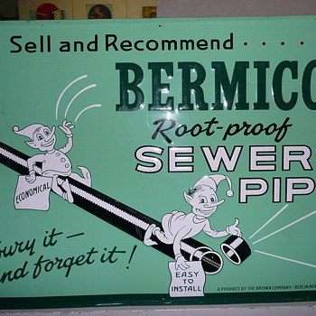 Bermico Sewer Pipe Tin Sign  - Signs