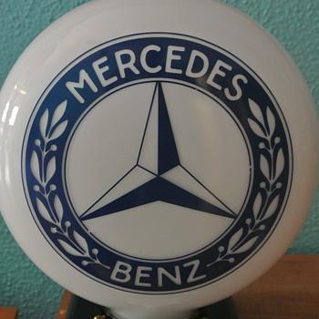Mercedes Benz 2-Sided Milk Glass Globe Light