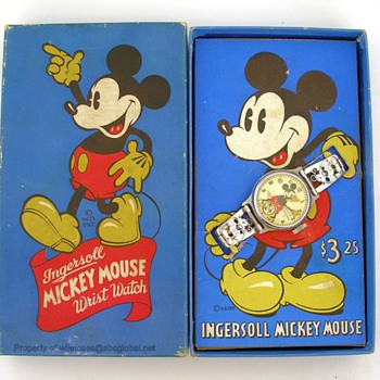 1937 Mickey Mouse Ingersoll Watch in Blue Panel Box  - Wristwatches