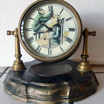 Monkey Barber Animated Mantel Clock