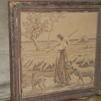 Tapastry picture Young girl tending Sheep