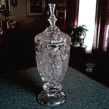 "Crystal D'Adrianna Yugoslavia/ Apothecary Jar/ Acid Etched ""Flora"" Pattern 24% Lead Crystal/ Circa 1980 - Glassware"
