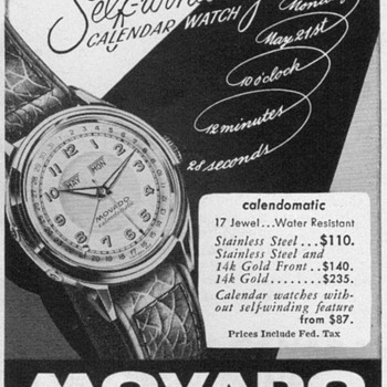 1952 - Movado Calendomatic Watch Advertisement - Advertising