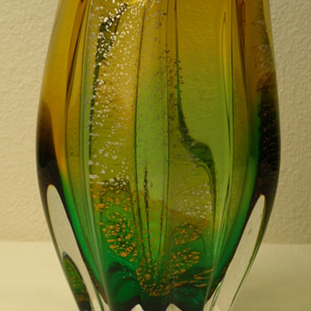 Fantasy Glass Amber and Green Vase - Art Glass