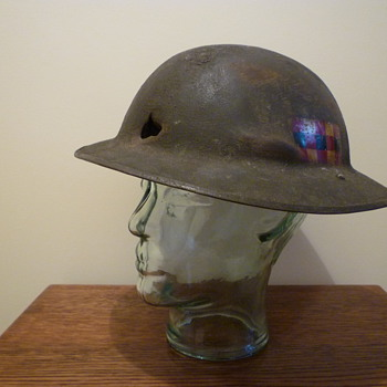 WWI British steel helmet, re-issued WWII.