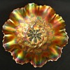 Two Marigold Carnival Glass Dishes with Ruffled Edge