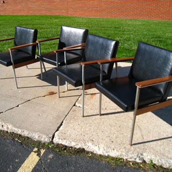 Set of 4, Vintage, Mid Century, Modern, 60's, 70's, Eames Era, Black Chairs