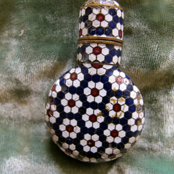 antique micro mosaic on metal bottle