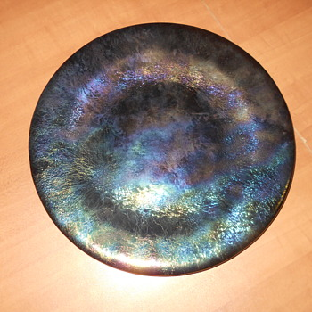 Metallic Iridized Art Pottery Plate Signed Help Identify?