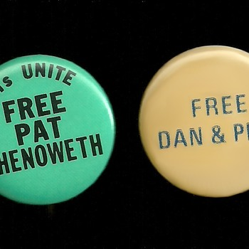 Vietnam era FREE PAT, DAN & PHIL pinback buttons - Medals Pins and Badges