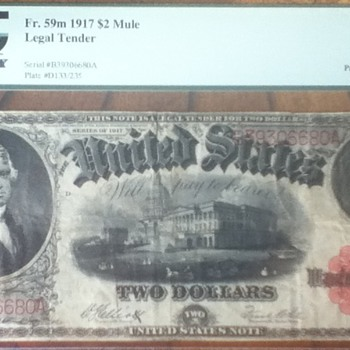 1917 $2 Mule Note - US Paper Money