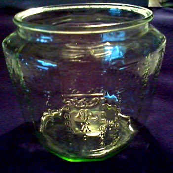 "Anchor Hocking Green ""Depression Glass"" Biscuit Jar/ ""Princess"" Pattern/Missing Lid/ Circa 1920's-30's - Glassware"