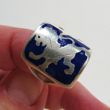 A Ring for a King~Sterling with Lion and Blue Enamel, Quite Old - Sterling Silver
