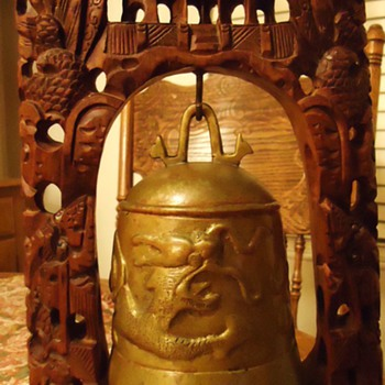 Buddhist Bell on carved wood frame,  Where made?  How old? - Asian