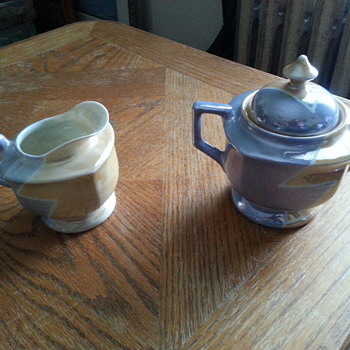 Art Deco Era Lusterware Cream and Sugar Set...no label, could use help...? - Art Deco