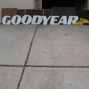 Goodyear Porcelain Letters with Winged Foot - Signs
