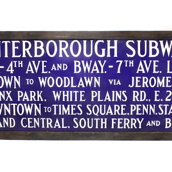 1940's Porcelain New York City NYC IRT Subway Sign - Railroadiana