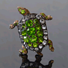 Antique gilded silver and paste turtle brooch, Auguste Besson.