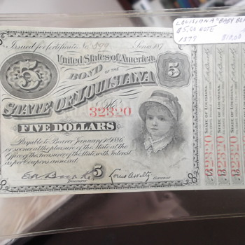 "1879 Louisiana ""Baby Bond"" 5 Dollar Bond - US Paper Money"