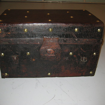 Mid 1800 Leather Gold Rush Trunk