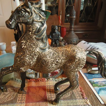 Brass Horse, etched, I named TATTOO!  12 hands high (Simon's Hands) or 17 inches tall!