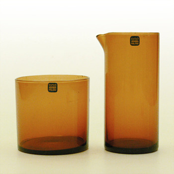 PURTILO set of creamer and sugar-bowl, Kaj Franck (Nuutajarvi Notsjö, 1967) - Art Glass