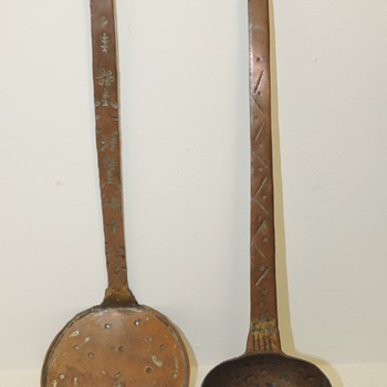 Copper Ladle & Skimmer - Decorative handles