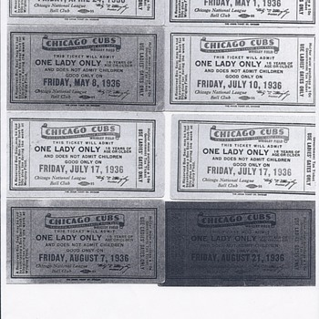 1936, 1937, 1938 and 1939 Chicago Clubs One lady only Tickets