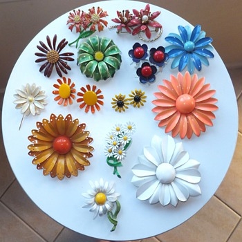 My Collection of Enamel Flower Brooches and Earrings