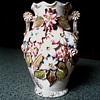 English Majolica Vase with Applied Flowers / Circa 1930's