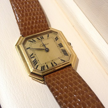 Vintage Cartier Ceinture Octagonal Leather Wristwatch