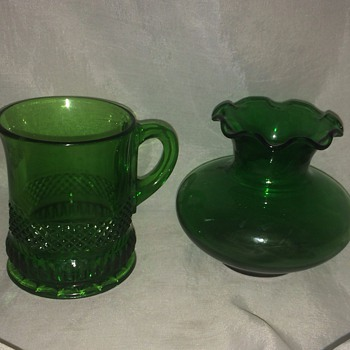 Antique Green Glass Cup and Vase