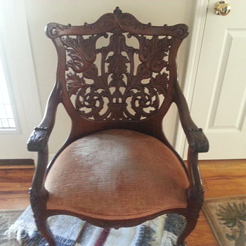 antique  hand carved wooden back chair - Furniture