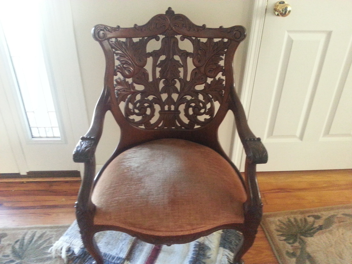 antique hand carved wooden back chair collectors weekly