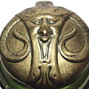 """STOLZLE Austrian, Art Nouveau- Glass INKWELL Green Iridescent w/Metal Mount""""Circa 1900"""