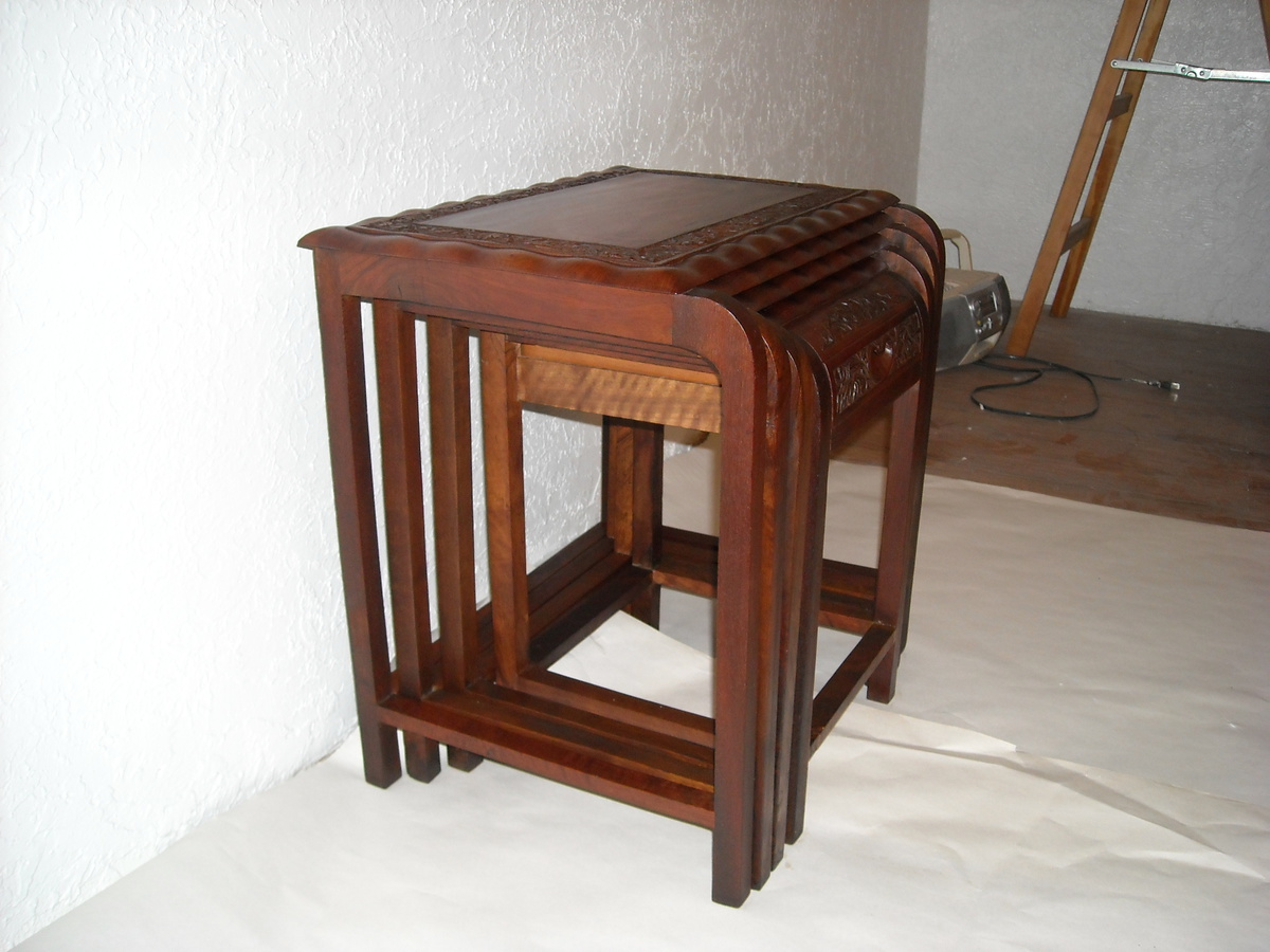 Teak Nesting Tables ~ Hand carved teak nesting table collectors weekly