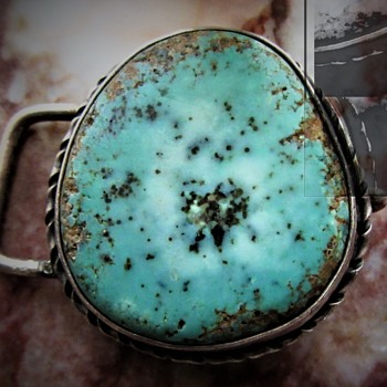 MYSTERY NATIVE AMERICAN STERLING TURQUOISE BELT BUCKLE