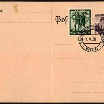 1938 - Union of Germany & Austria Postmarked Card