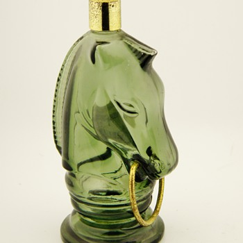 Vintage Avon Cologne Perfume Bottle Green Glass Wild Country Horse - Bottles