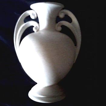 "George Rumrill Design Art Deco Handled Vase ""I 3"" /Shawnee Pottery Matte Ivory Glaze / Circa 1938"