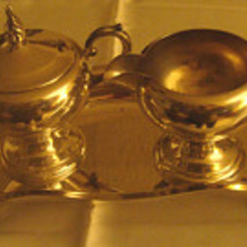 Art S Co. silver plate creamer, sugar bowl and tray unmarked