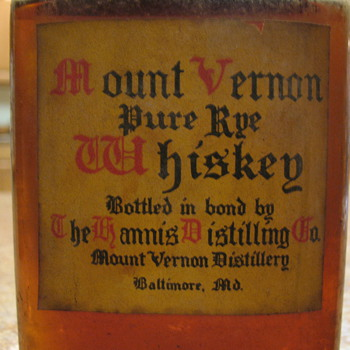Sealed Bottle of Mount Vernon Pure Rye Whiskey - Bottles