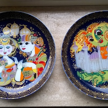 "Two Rosenthal Studio Line ""Aladin & The Magic Lamp"" Series Wall Plates, Artist Bjorn Wiinblad - Pottery"