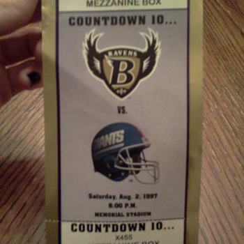 Baltimore Ravens Vs New York Giants 1997