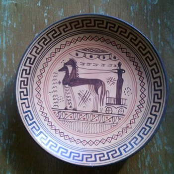 Terracotta Small Plate, Delphi? - Art Pottery